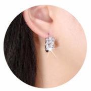 Boucles d'oreilles mariée feuille zirconium blanc