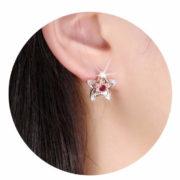 Boucles d'oreilles mariée fleu rouge (1)