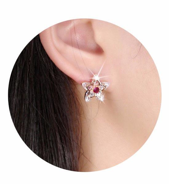 Boucles d'oreilles mariée fleu rouge