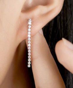 Boucles d'oreilles mariée strass argent