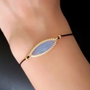 Bracelet cordon femme plaque or