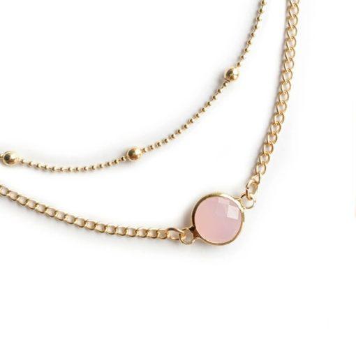 Collier femme pierre rose