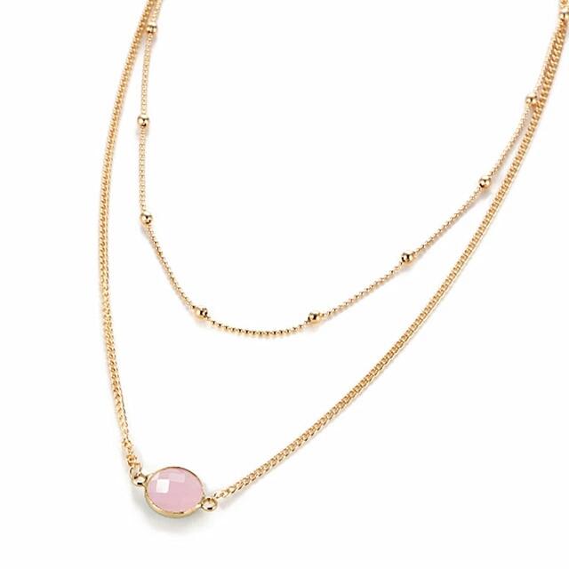 5544bd0051e Collier femme pierre rose - BIJOUX FANTAISIE- Chloe Bijoux Boutique