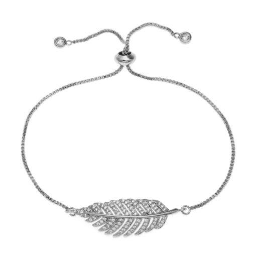 bracelet plume argent