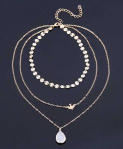 collier fantaisie multirangs or