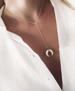 Collier cadeau femme- corne lune