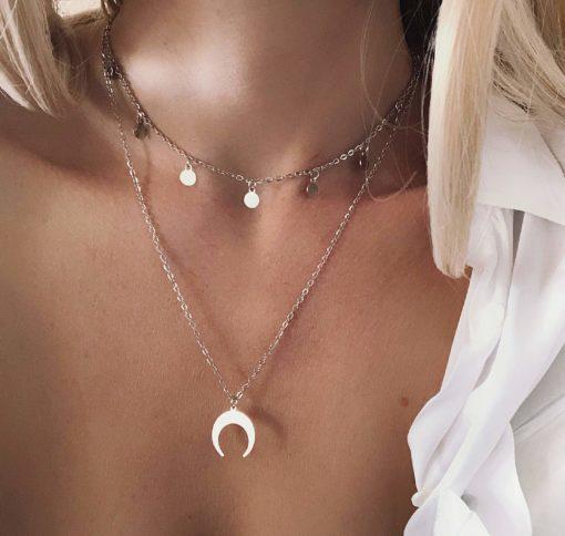 Collier cadeau femme- corne lune pampille argent