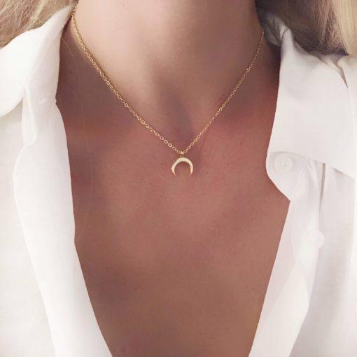 Collier cadeau original femme- corne or