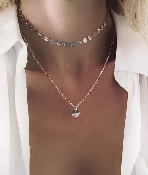 collier cadeau femme- multirang argent