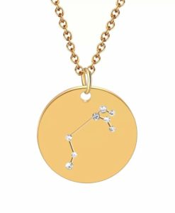 Collier constellation belier plaque or