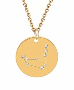 Collier constellation capricorne plaque or
