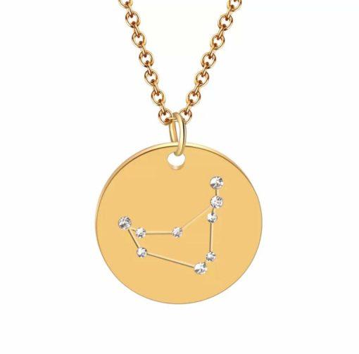 Collier constellation capricorne plaque or