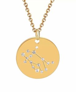 Collier constellation gemeaux plaque or