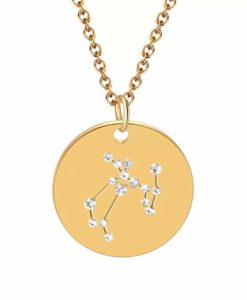 Collier constellation sagittaire plaque or