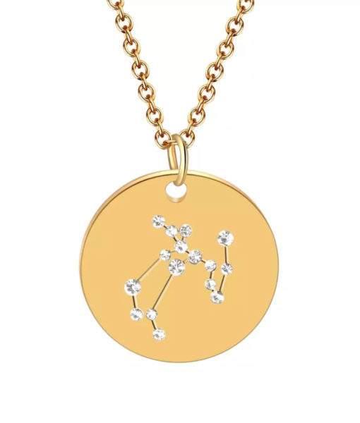 Collier constellation sagittaire plaque or
