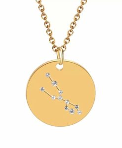 Collier constellation taureau plaque or