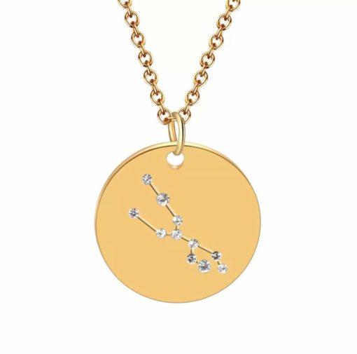 Collier constellation taureau plaque or