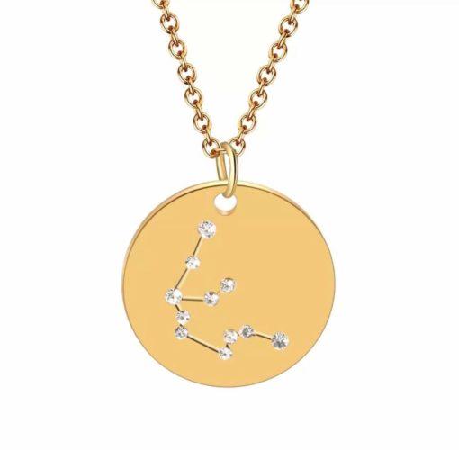 Collier constellation verseau plaque or