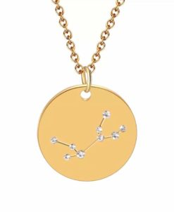 Collier constellation vierge plaque or