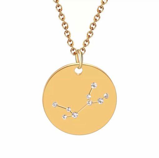 Collier constellation vierge plaque or