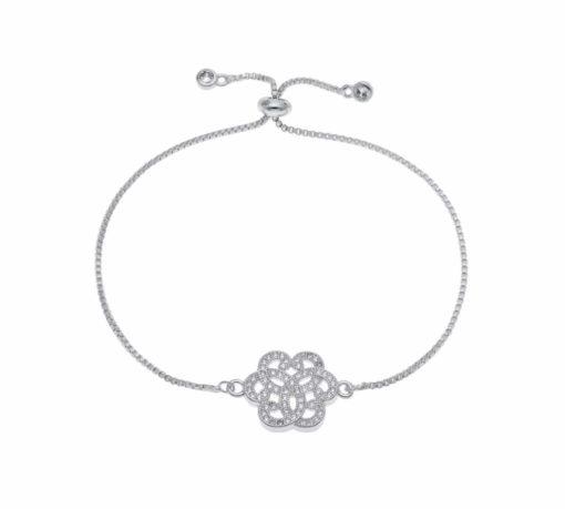 Bracelet fantaisie fleur argent
