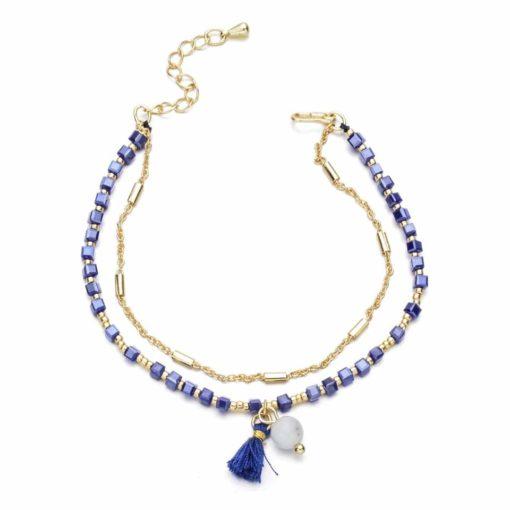 Bracelet avec perles - bleu