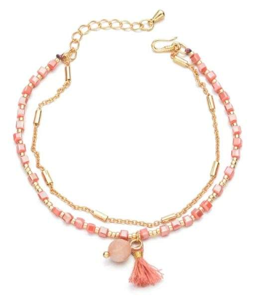 Bracelet avec perles -rose