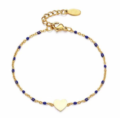 Bracelet coeur plaque or