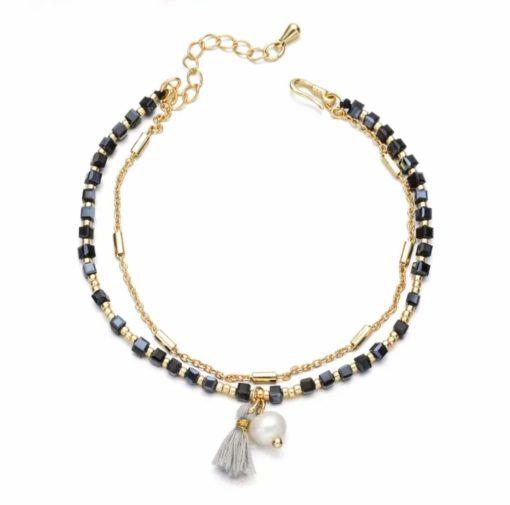 Bracelet perles - noir