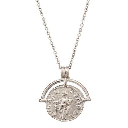 Collier medaille argent tendance