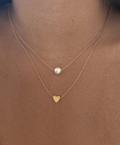 collier deux rangs coeur