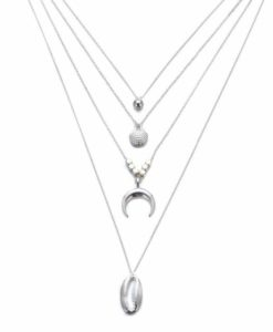 collier multirangs plaque argent
