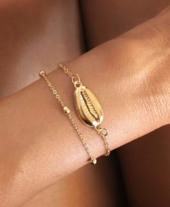Bracelet chaine doree coquillage