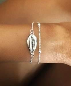 Bracelet chaine argentee coquillage