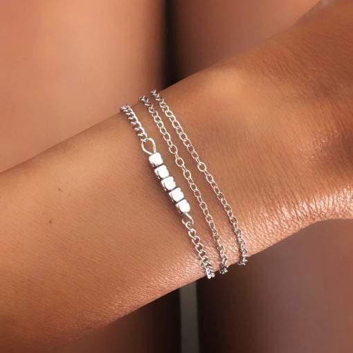 Bracelet multirang chaine argentee