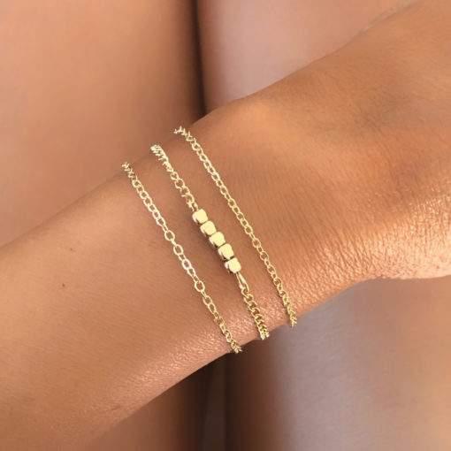 Bracelet multirang chaine doree