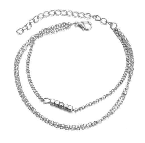 Bracelet trois rangs pampille argent