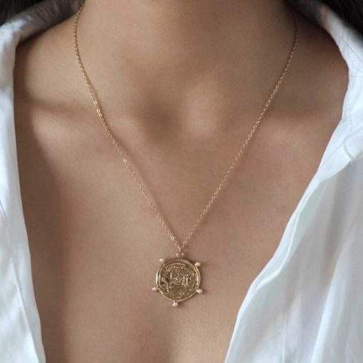 Collier chaine et medaille plaque or