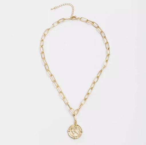 Collier grosse maille medaille cesar