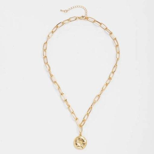 Collier grosse maille medaille doree