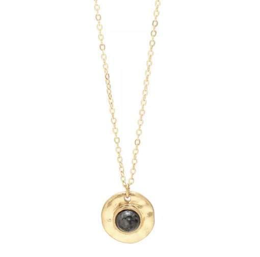 Collier medaille martelee pierre labradorite