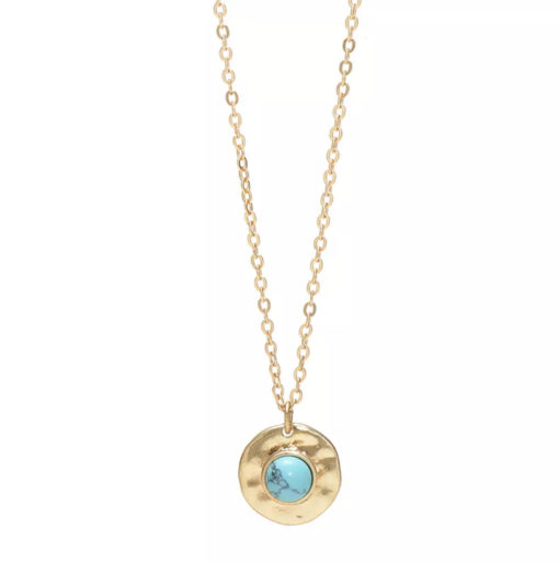 Collier medaille martelee pierre turquois