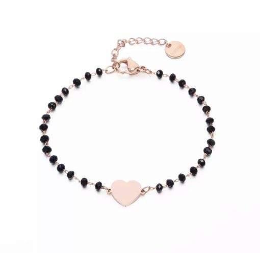 Bracelet femme perles noir