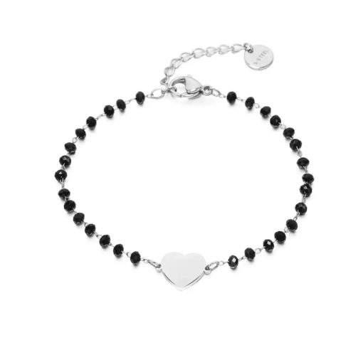 Bracelet perle noir argent