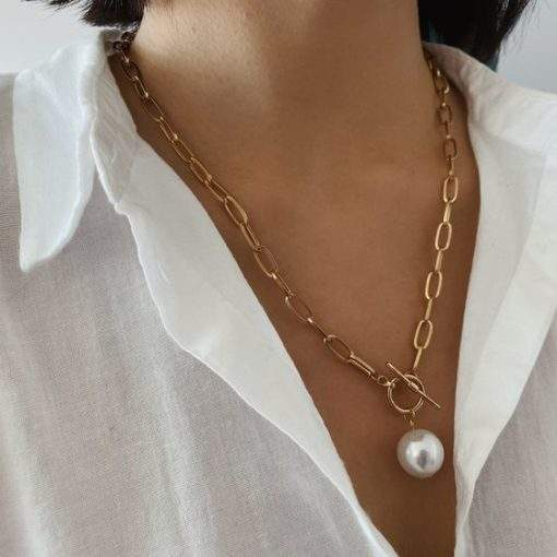 Collier gros maillons forme ovale