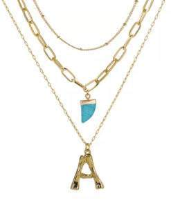 Collier personnalise pendentif turquoise