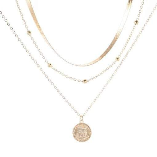 Collier tendance 3 rangs medaille