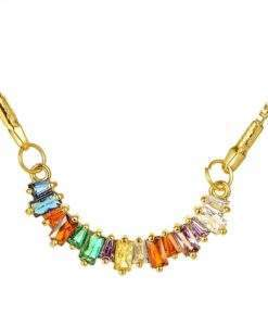 Collier cadeau femme - pendentif multicolore