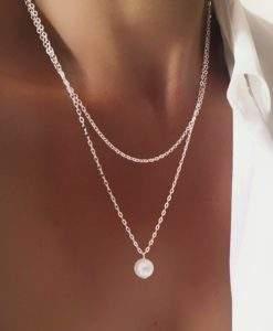 Collier multirang pendentif perle argent