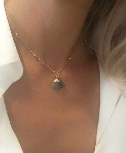 Collier pierre labradorite chaine satellite